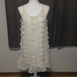 NWOT Pink Lily Cream 3D Polka dot dress
